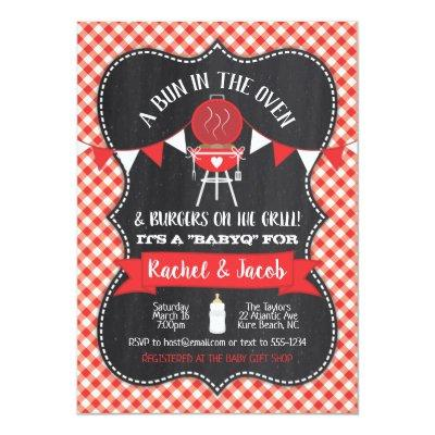 Bun in the Oven BabyQ Baby Shower Red Chalkboard Invitation