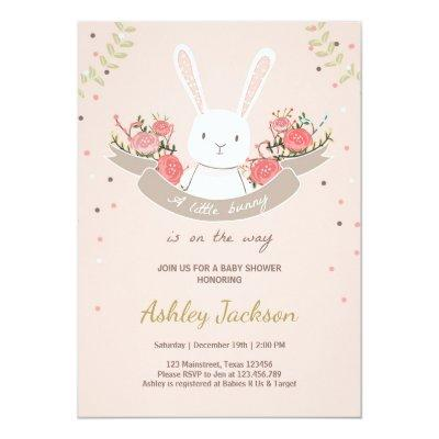 Bunny Baby Shower Invitations Rabbit Spring Floral