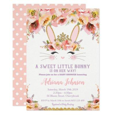 Bunny Baby Shower Invitations Girl Floral Rabbit