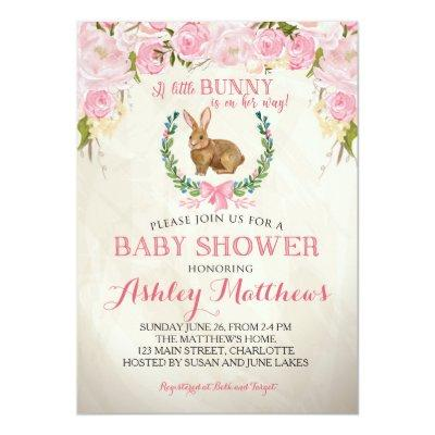 Bunny BABY SHOWER pink Beautiful Floral Invitations