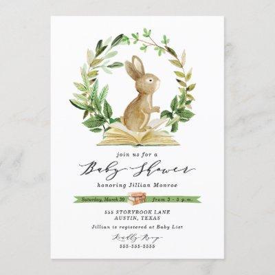 Bunny Book Themed Baby Shower Invitation Greenery