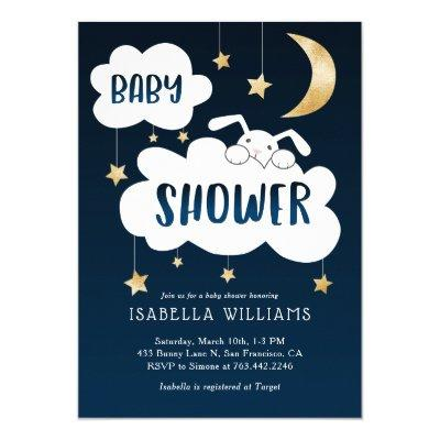 Bunny Moon Stars Baby Shower Invitation