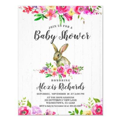 Bunny Rabbit Floral Baby Girl Shower Invitations