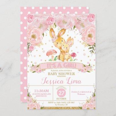 Bunny Rabbit Floral Baby Shower Invitation Girl