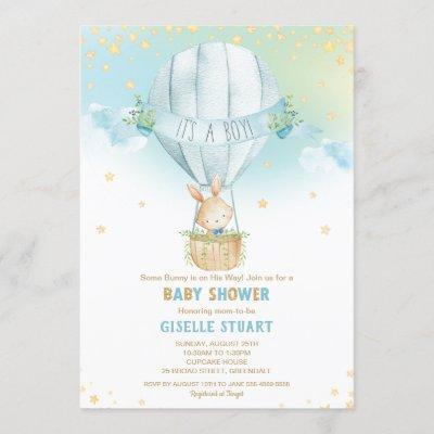Bunny Rabbit Hot Air Balloon Baby Shower Boy Invitation