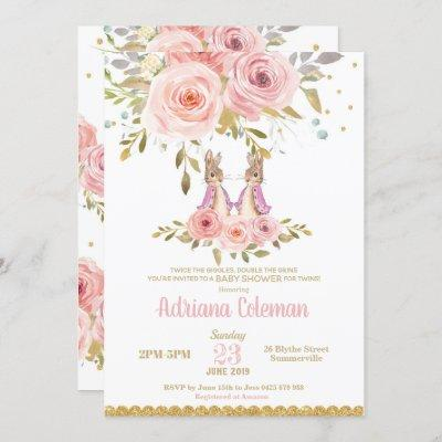 Bunny Rabbit Twin Girls Baby Shower Invitation