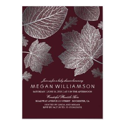 Burgundy and Silver Leaves Fall Baby Shower Invitation