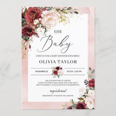 Burgundy blush pink floral gold oh baby shower invitation