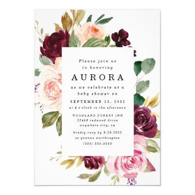Burgundy Blush Pink Gold Floral Boho Baby Shower Invitation