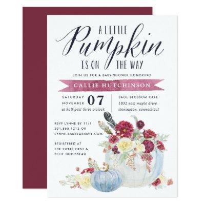 Burgundy Floral & Autumn Pumpkin Baby Shower Invitations
