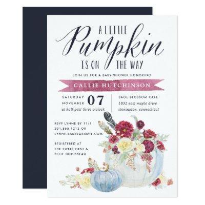 Burgundy Floral & Autumn Pumpkin Baby Shower Invitation
