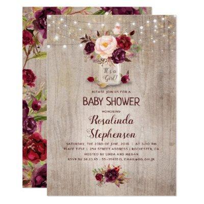 Burgundy Floral Mason Jar Rustic Baby Shower Invitation