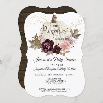 Burgundy Floral Pumpkin Pink Gold Baby Girl Shower Invitation