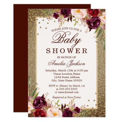 Burgundy Gold floral Sparkle Baby Shower Invitations