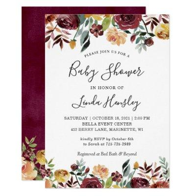 Burgundy Peach Gold Garden Floral Fall Baby Shower Invitations