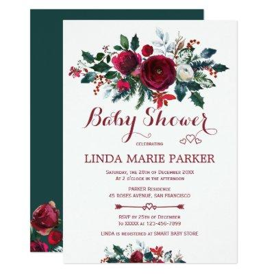 Burgundy pine green floral winter baby shower Invitations