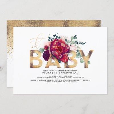 Burgundy Red and Blush Pink Floral Baby Shower Invitation