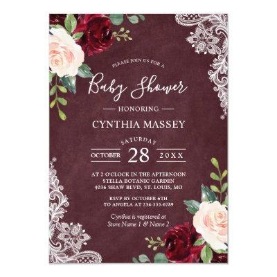 Burgundy Red Blush Floral Lace Girl Baby Shower Invitations