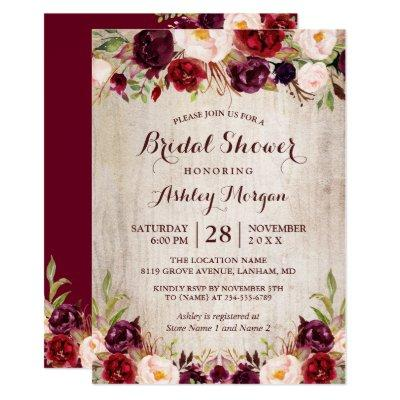 Burgundy Red Floral Rustic County Bridal Shower Invitations