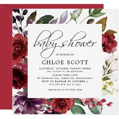 Burgundy Red Floral Square Baby Shower Invitations