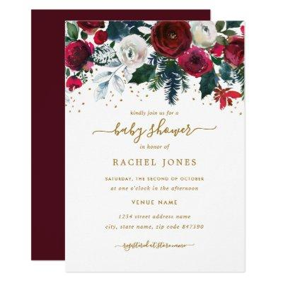 Burgundy Red Gold Floral Christmas Baby Shower Invitation