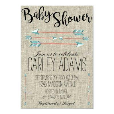 Burlap Adorned with Arrows   Baby Shower Invite