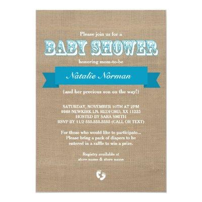 Burlap and blue ribbon rustic baby boy shower invitation