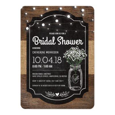 Burlap Baby Breath Wooden Wedding Bridal Shower Invitations