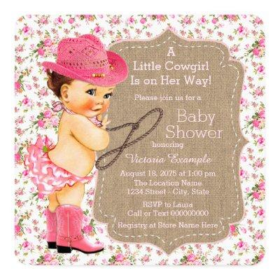 Burlap Cowgirl Baby Shower Floral Calico Invitations