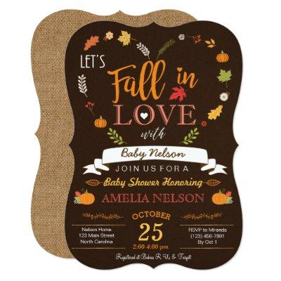 Burlap Fall In Love Pumpkin Baby Shower Invitations