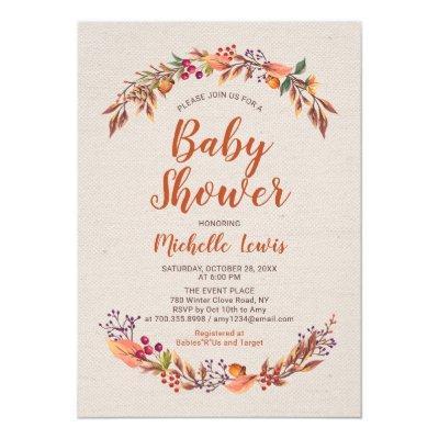 Burlap Floral Fall Boy Baby Shower Invitations