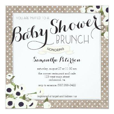 Burlap Flowers Baby Shower Brunch Invitations