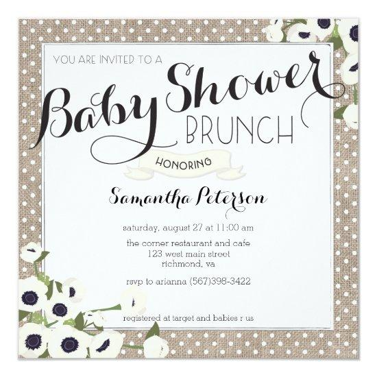 Burlap Flowers Baby Shower Brunch Invitations Baby Shower Invitations