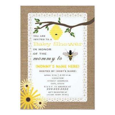 Burlap Inspired Honey Bee Themed
