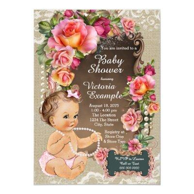 Burlap Lace Pearl Rustic Chic Baby Shower Invitations
