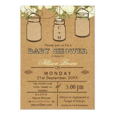 Burlap , mason jars, rustic baby shower Invites