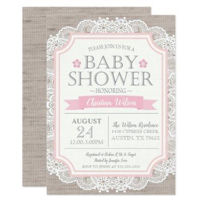 Burlap Pink & Lace Baby Shower Invitation