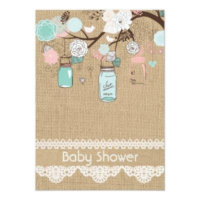 Burlap Rustic Lace Mason Jar Baby Shower Invitatio Invitations