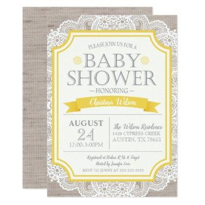 Burlap Yellow & Lace Baby Shower Invitations