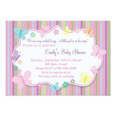 Butterflies Baby Girl Shower Invitation