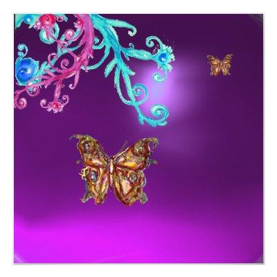 BUTTERFLY AMETHYST , purple blue bright pink red Invitations