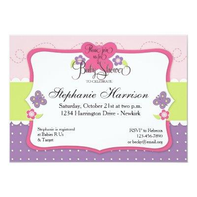 Butterfly Baby Shower in Purple Pink and Green Invitations