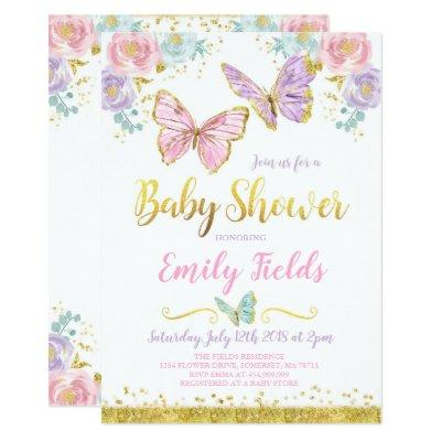 Butterfly Baby Shower Invitation Girl Baby Shower