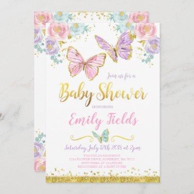 Butterfly Baby Shower Invitation Girl Baby Shower