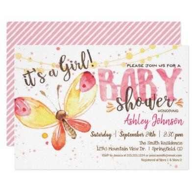 Butterfly Baby Shower Invitations, it's a girl Invitations