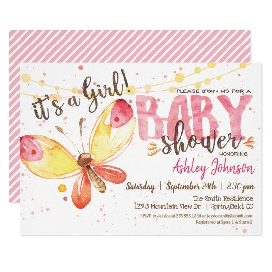 Butterfly Baby Shower invitation, it's a girl Invitation