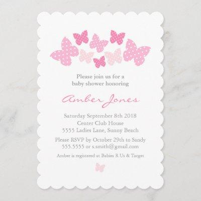 Butterfly Baby Shower Invitation - Pink