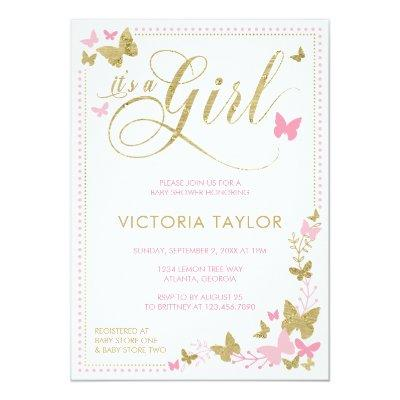 Butterfly , Pink, Gold Invitations