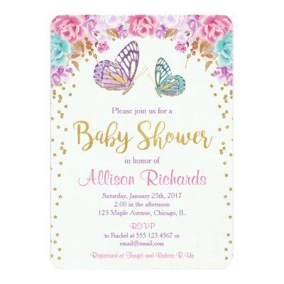 Butterfly invitation, pink purple gold Invitations