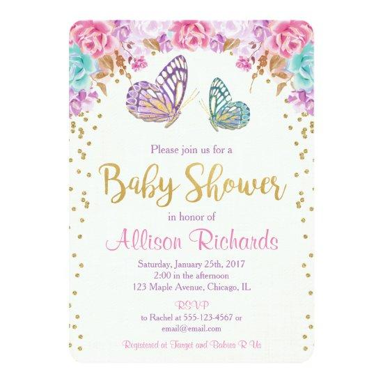 Butterfly , pink purple gold Invitations